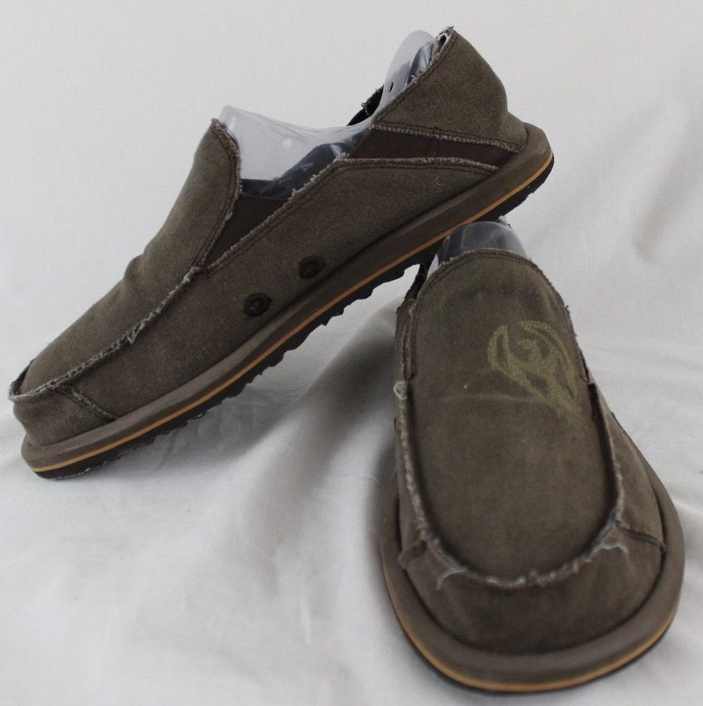 183afffc74dd SKECHERS Brown Canvas Sidewalk Surfers Mems Size 10  Skechers   sidewalksurfers