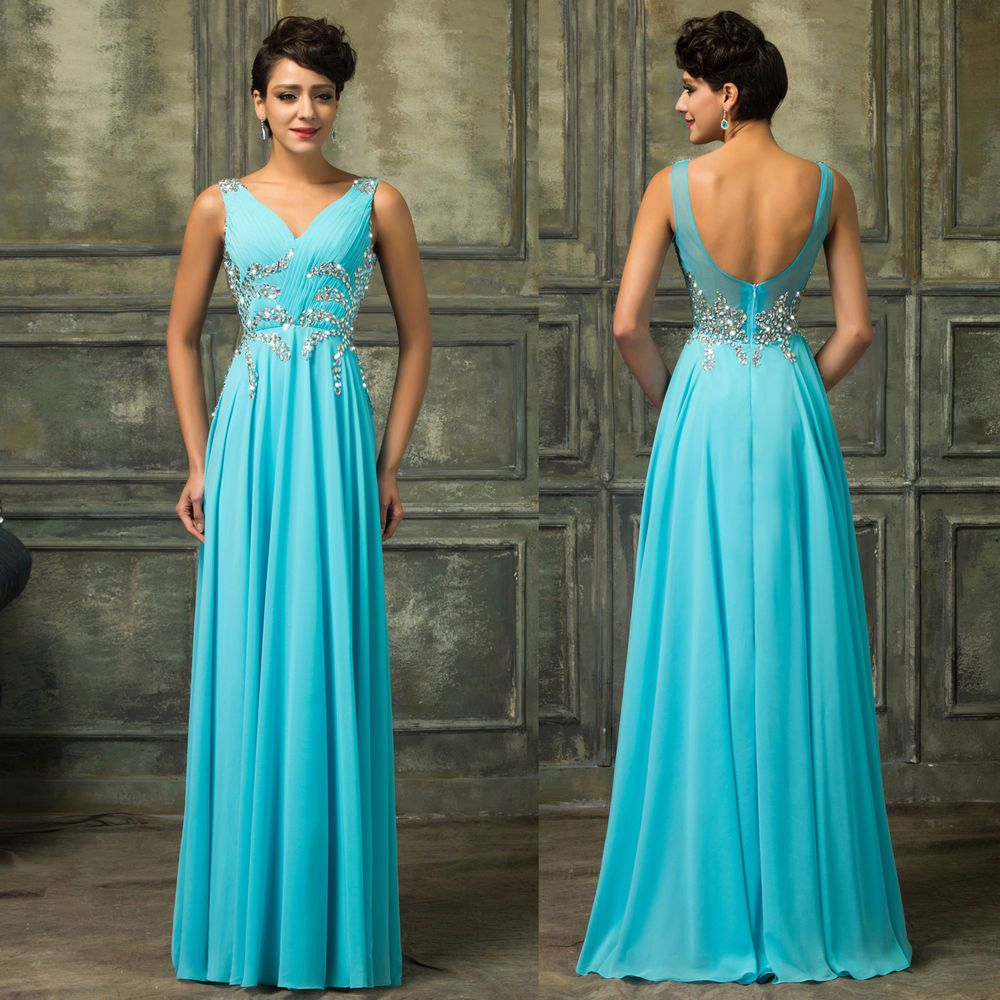 Dress for wedding evening party  BEADED Long Prom Dresses Ball Gown Wedding Formal Evening Party