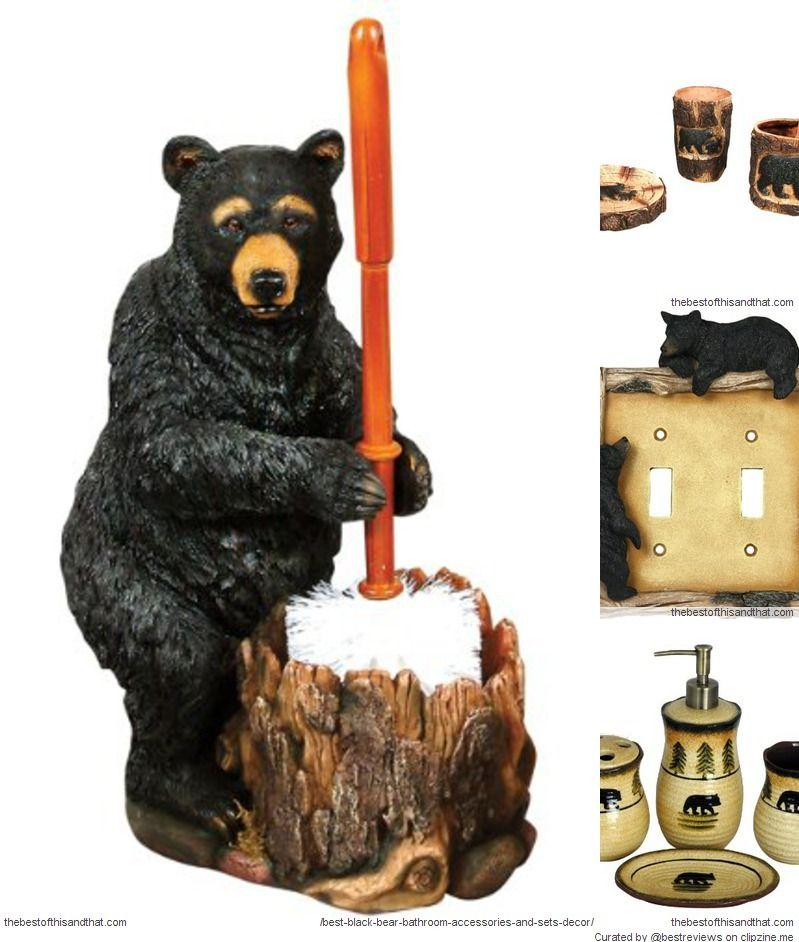 Cute Black Bear Bathroom Accessories For A Rustic, Cabin Decor Look.  #lyblkbearbath