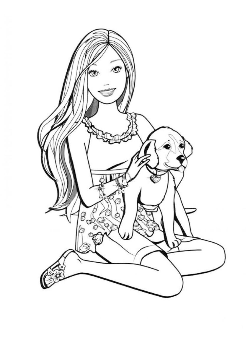 Barbie with Dog - high-quality free coloring from the ...