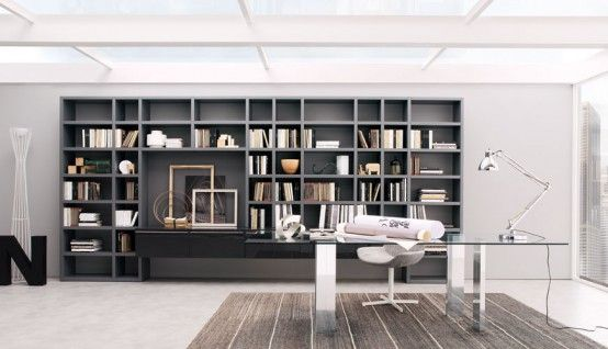 Book storage wall units crossing and desk for home office - Storage units living room furniture ...