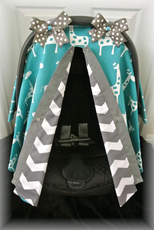 car seat canopy car seat cover damask GIRAFFE by JaydenandOlivia ...