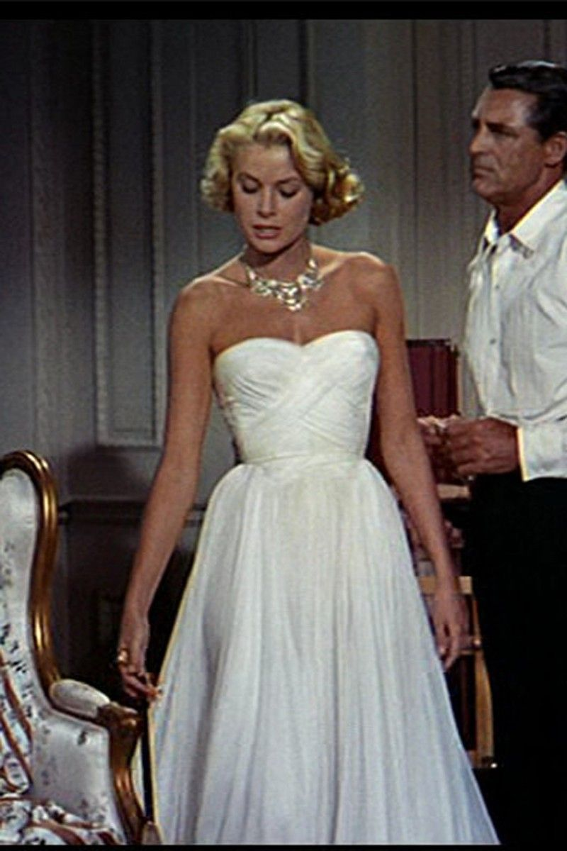 Grace Kelly White Strapless Chiffon Celebrity Dress In Movie Catch A Thief