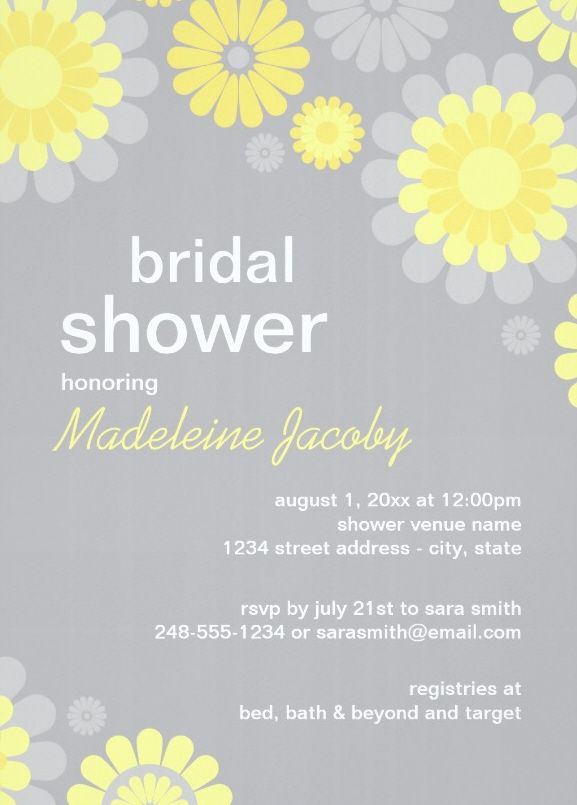 yellow grey daisy bridal shower invitation cheerful daisies adorn this delightful floral bridal shower invitation