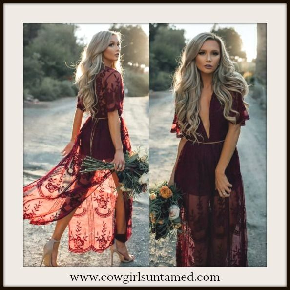 8c4475d7765e BOHEMIAN COWGIRL DRESS Burgundy Red Lace Sheer Boho Maxi Dress TOP SELLER!!  #lace #maxidress #dress #longdress #bohemian #cowgirl #gypsy #wedding  #sheer ...