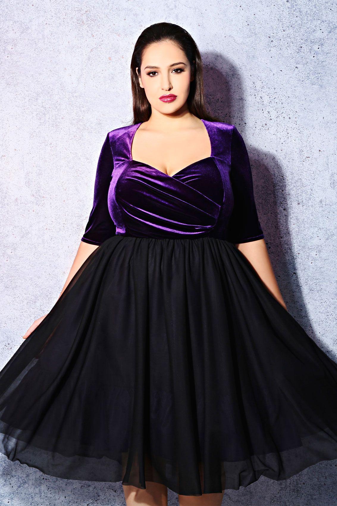 SCARLETT & JO Black & Purple Velvet Prom Dress | Purple velvet