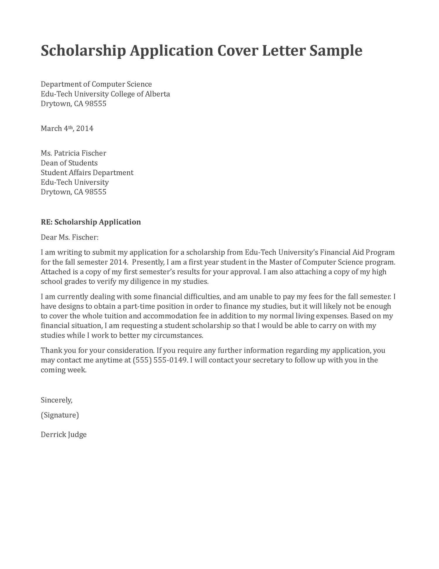cover letter for an application  Application cover letter