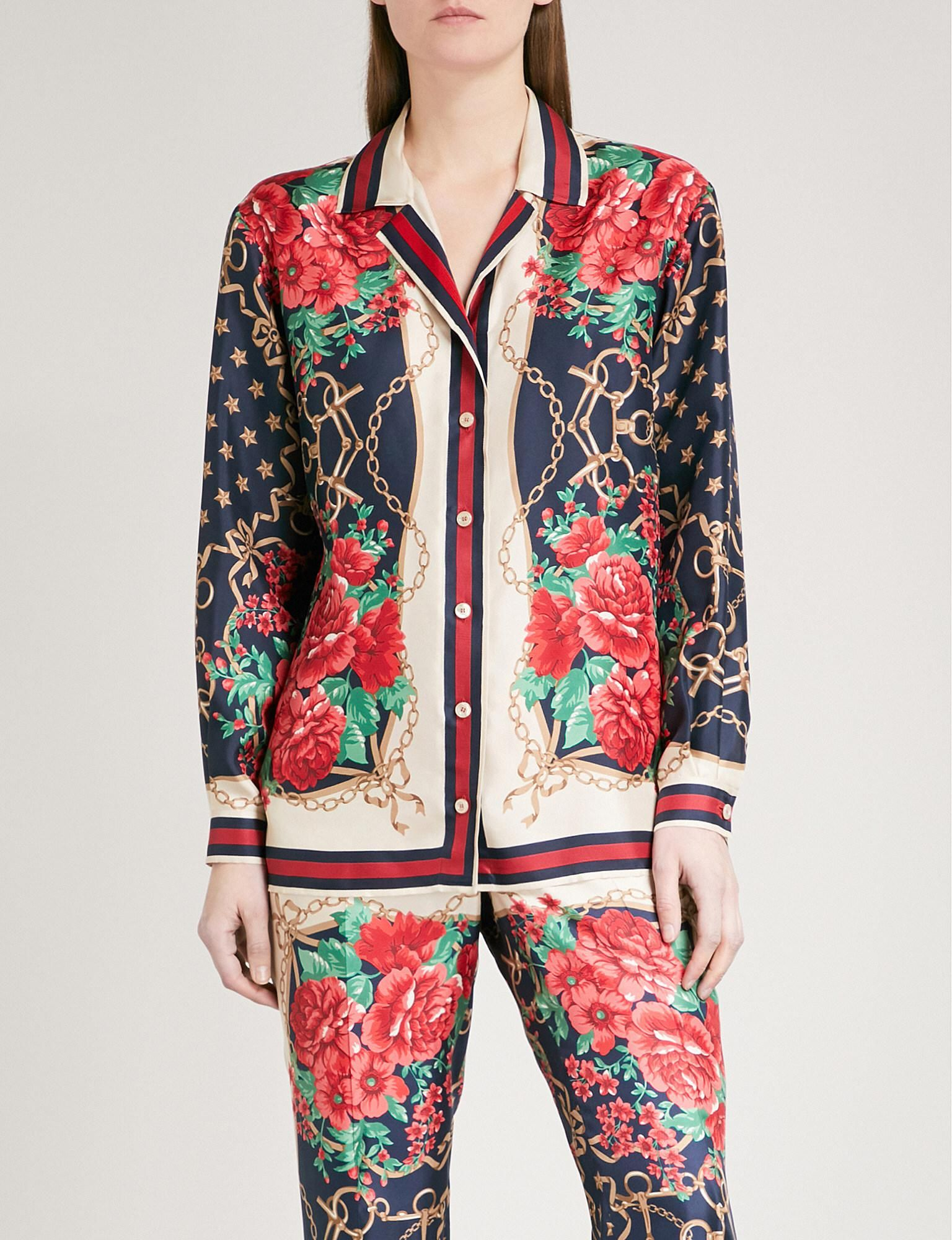 8b5db69d7 Women's Floral Chain Print Shirt in 2019 | gucci | Printed shirts ...