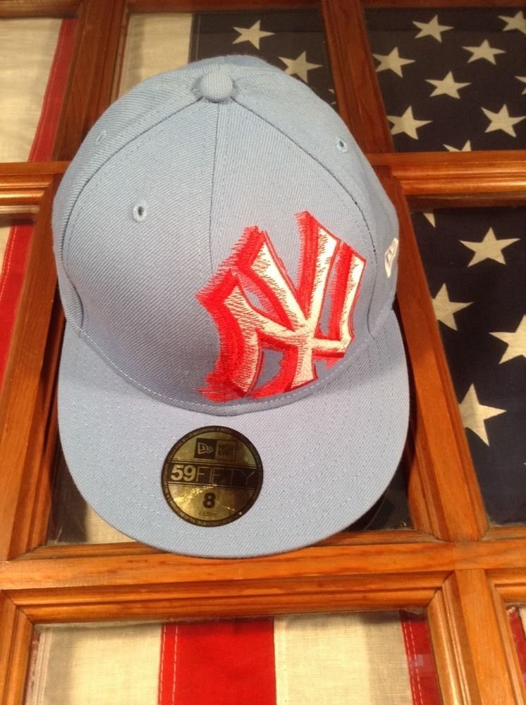 New era 59fifty fitted hat cap new york yankees size 8 sky