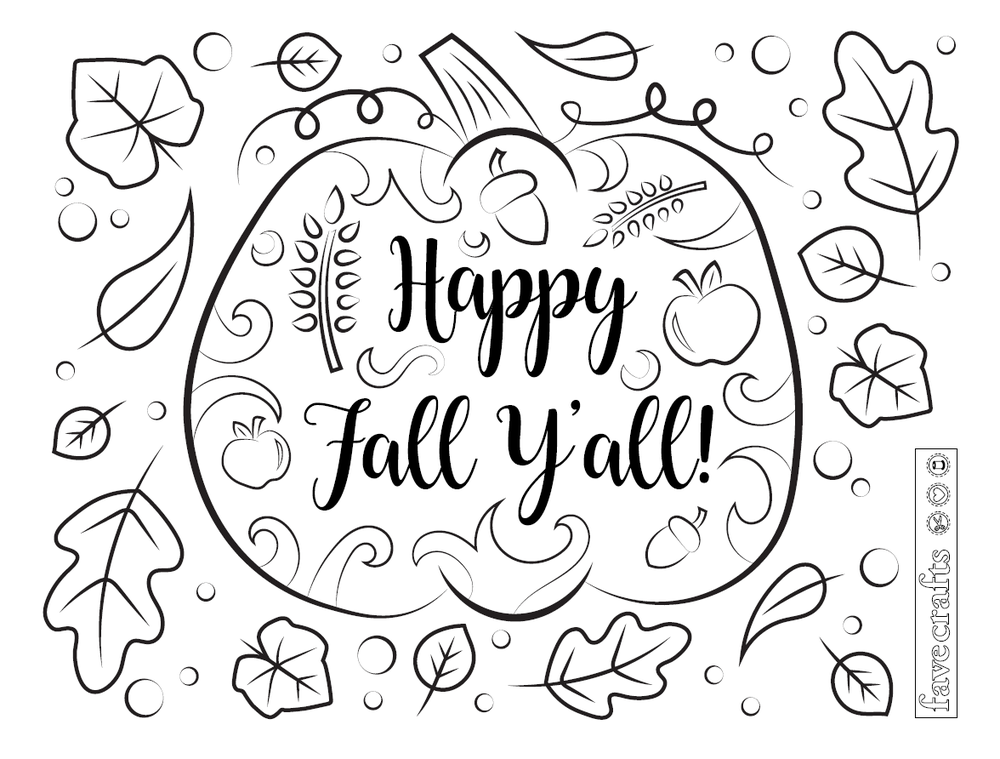 Happy Fall Ya Ll Coloring Page Free Adult Coloring Book