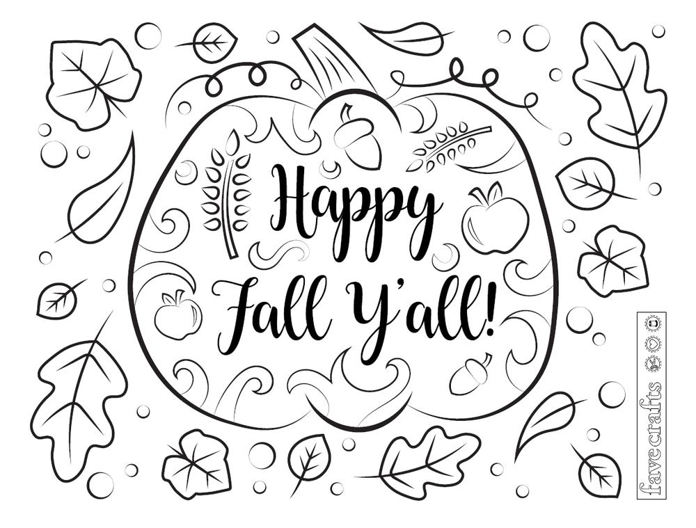 Happy Fall Ya Ll Coloring Page Fall Coloring Pages Cool Coloring Pages Fall Coloring Pictures