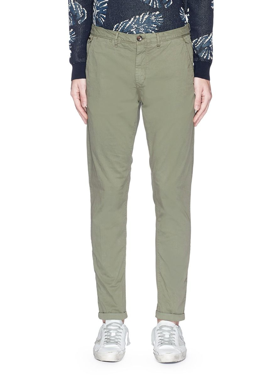 Mott Garment Dye Cotton Chinos In Military Night Cotton Chinos Garment Dye Chinos