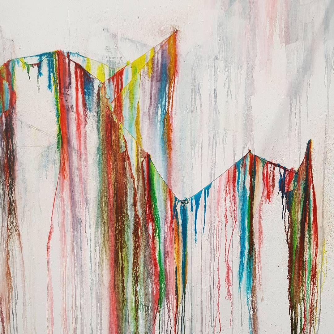 Closeup . . . . #ink #inkart #installation #colour #colourbleed #progress #cotton #wallart #primary #sculpture #drawing #drip #line #layers #shadow #ukartist #ukart
