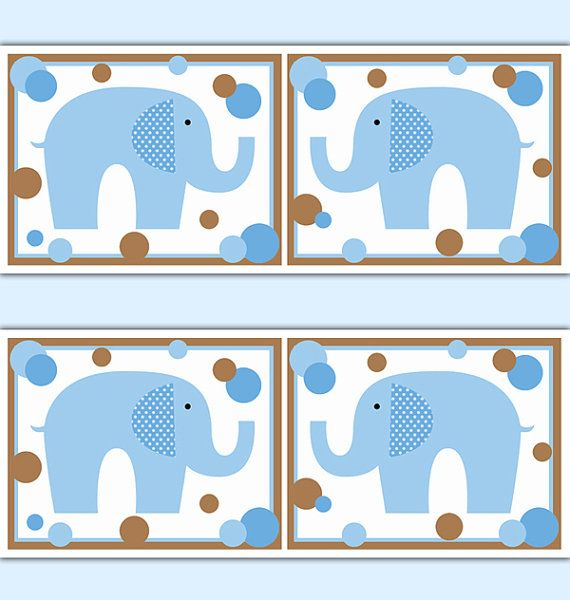 ELEPHANT DECAL STICKER Wallpaper Border Boy Nursery Blue Wall Art ...