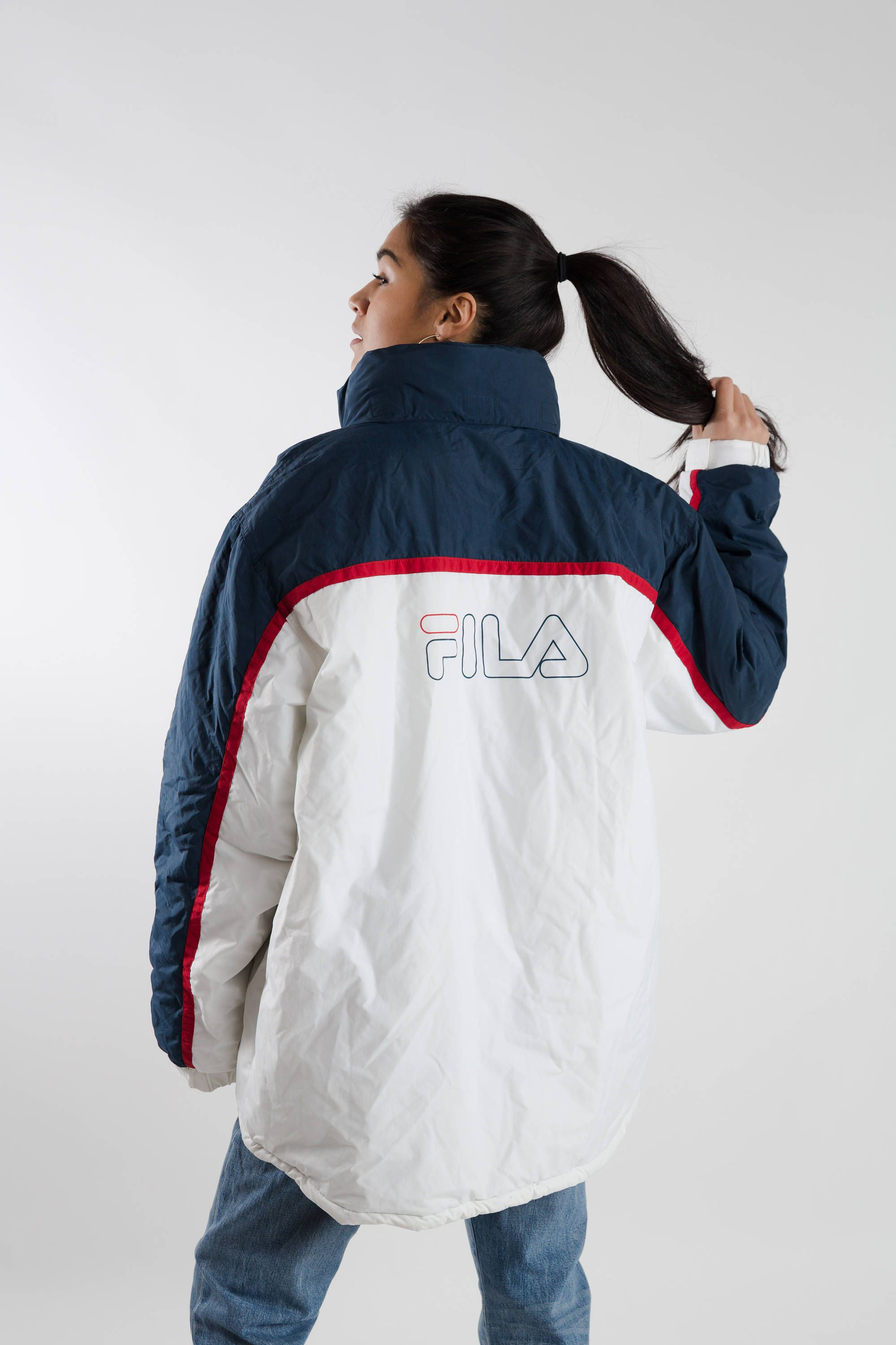 83e33f32e Vintage Fila padded jacket   90s white and blue Fila sports jacket    Oversized women s spellout Fila jacket   Men s winter jacket   Size XXL by  LHITW on ...