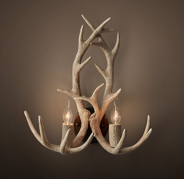 Again Something You Could Probably Make Yourself Aspen Antler Sconce Sunbleached Restoration Hardware