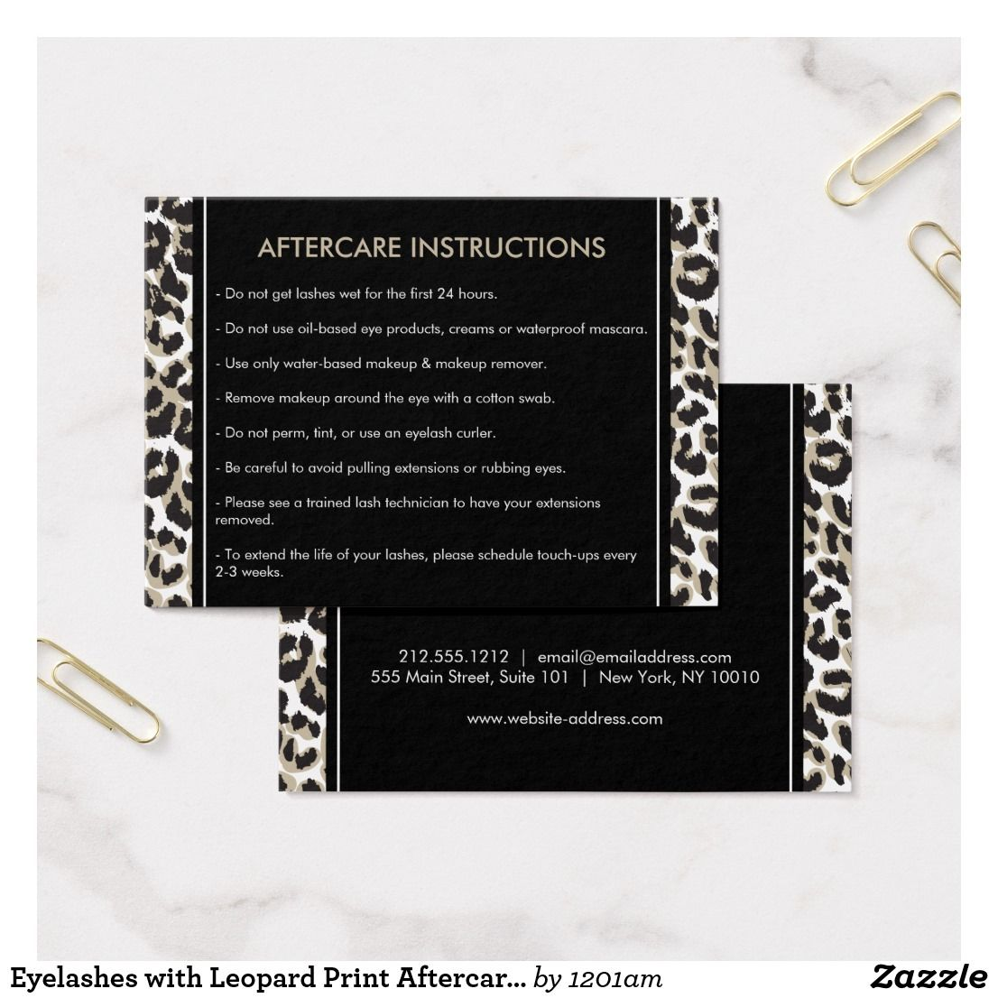 Eyelashes with Leopard Print Aftercare Card   Business cards