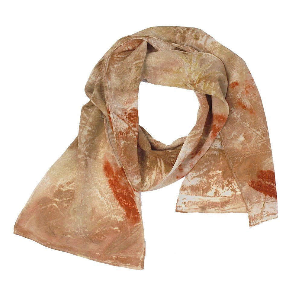 One-of-a-kind scarf created by artist Cassandra Tondro using leaves pressed and steamed against silk. Gorgeous Earth tone colors.