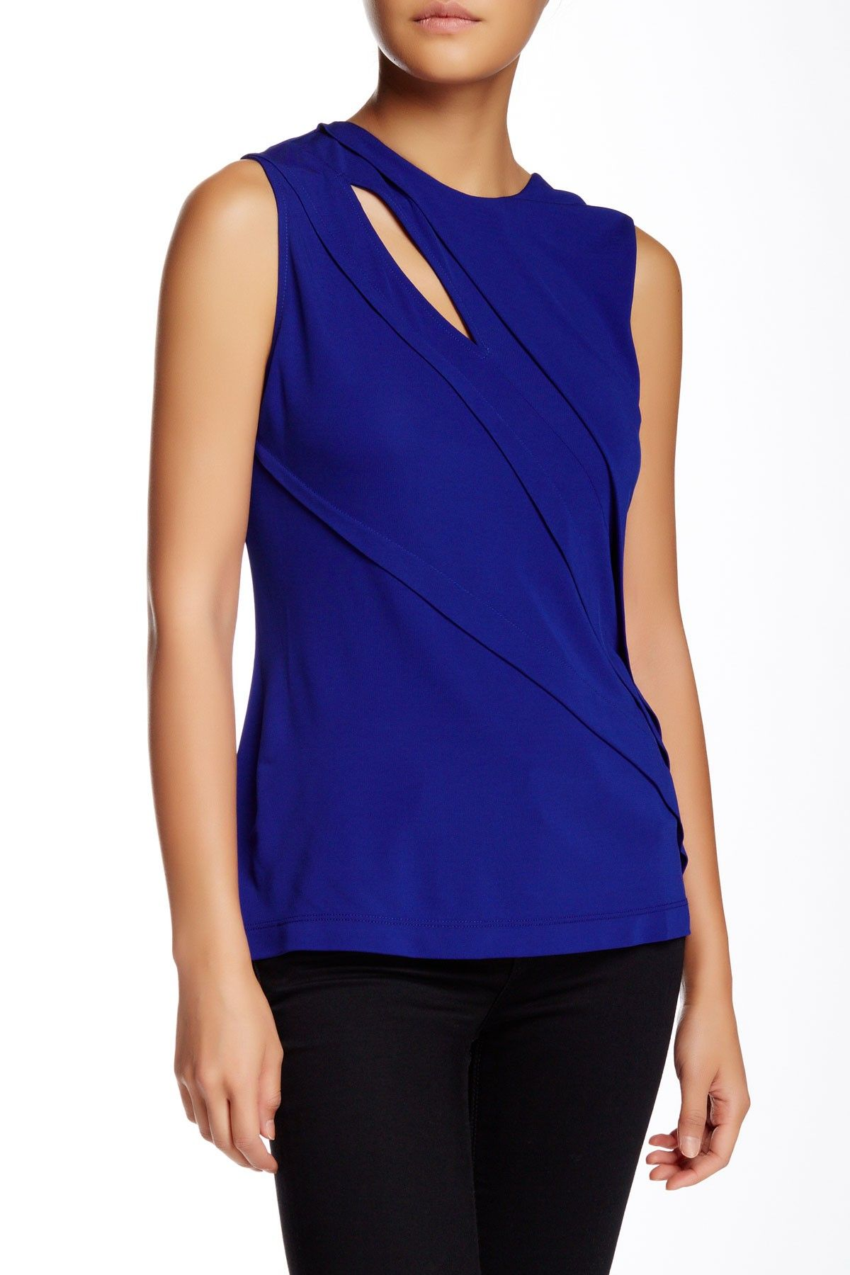 Cut25 by Yigal Azrouel Pleated Matte Jersey Blouse (con