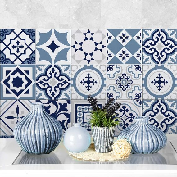 PS00099 Fes blu Pvc tiles for bathroom tiles and New School