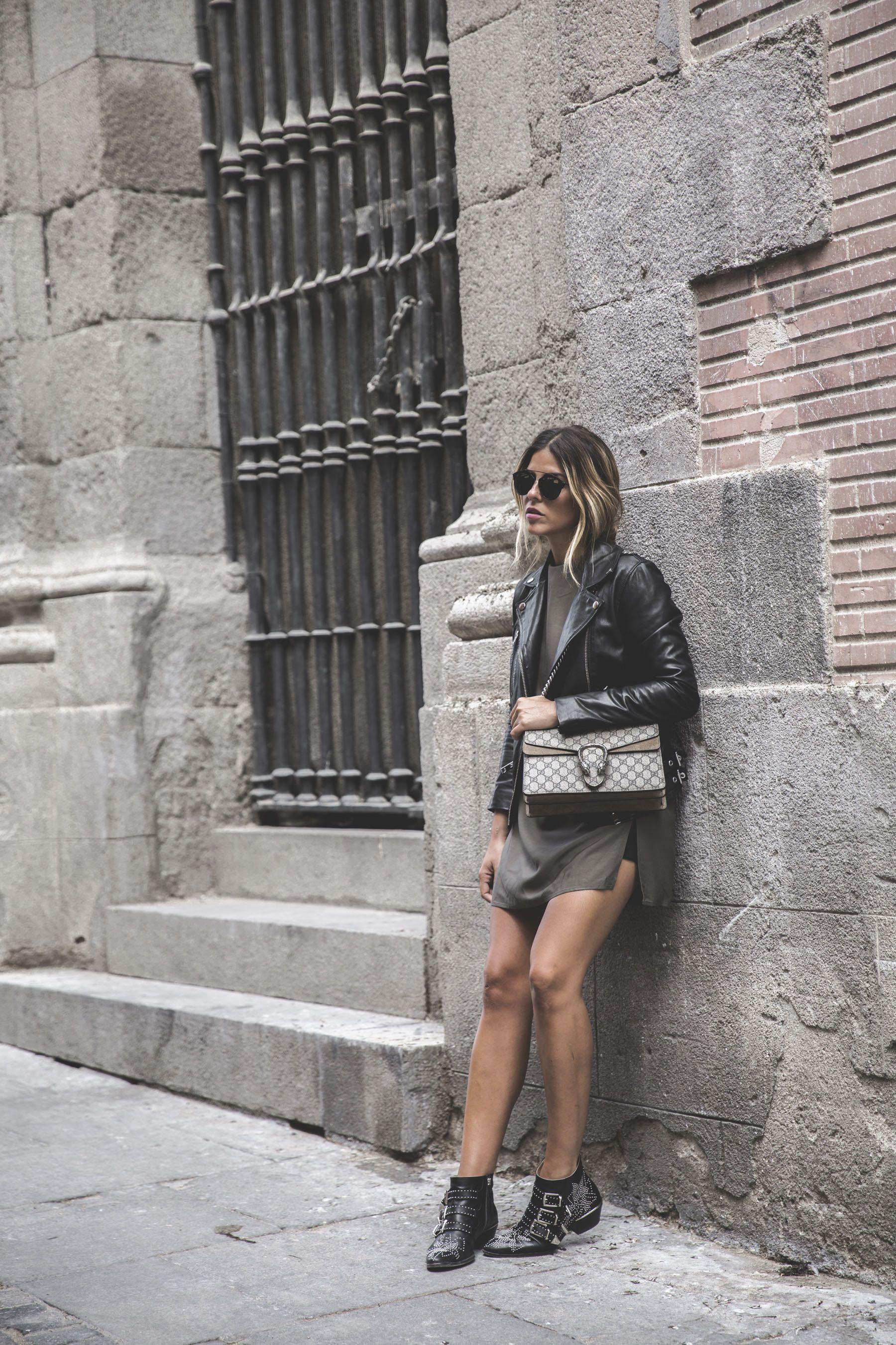 Trendy Taste – The Jacket. Khaki and black little dress+black ankle boots+black leather jacekt+beige Gucci Dionyuss bag+sunglasses. Fall Outfit 2016