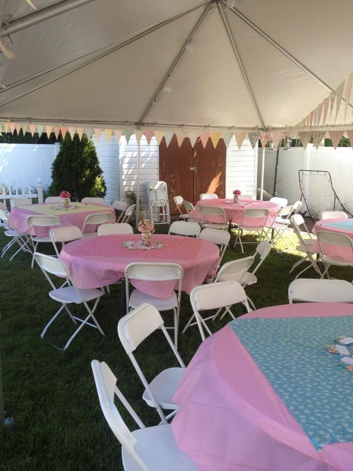 20x30 White Frame Tent with Lighting, Tables and chairs for 60 ppl ...
