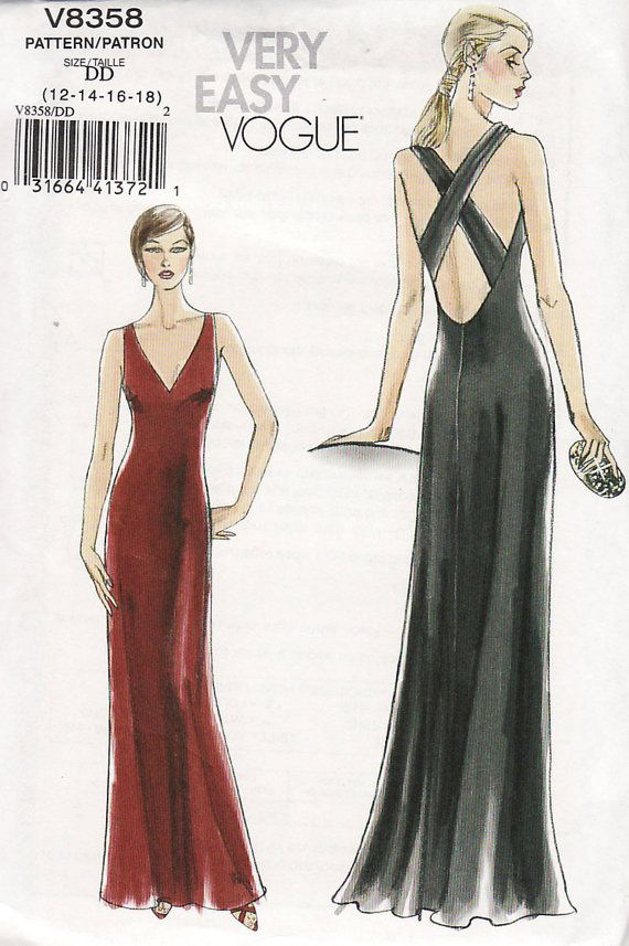 Vogue 8358 Evening Dress Cross Back Straps Sewing Pattern Size 12 ...
