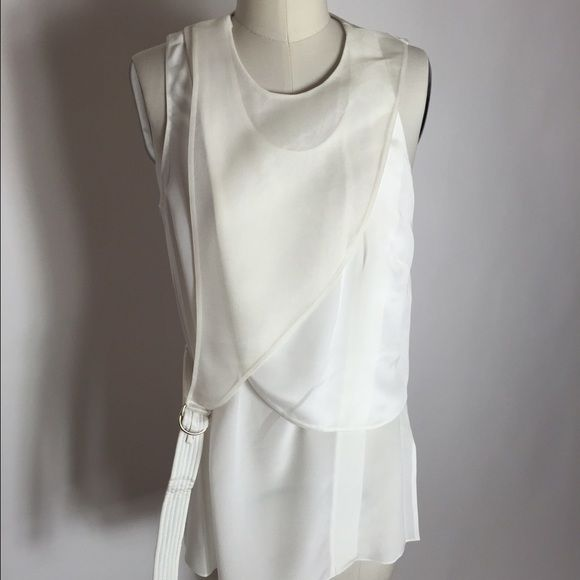 Phillip Lim Layered sleeveless top. White. Sz 4 Very flattering layered top by Phillip Lim. Sheer panel over front of blouse. Size 4. Never worn. Brand new with tags on. Sorry no trades! 3.1 Phillip Lim Tops Blouses