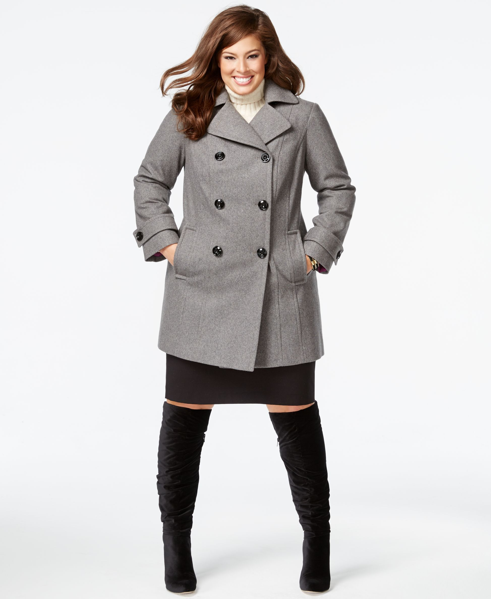 310698335dd Anne Klein Plus Size Double-Breasted Peacoat