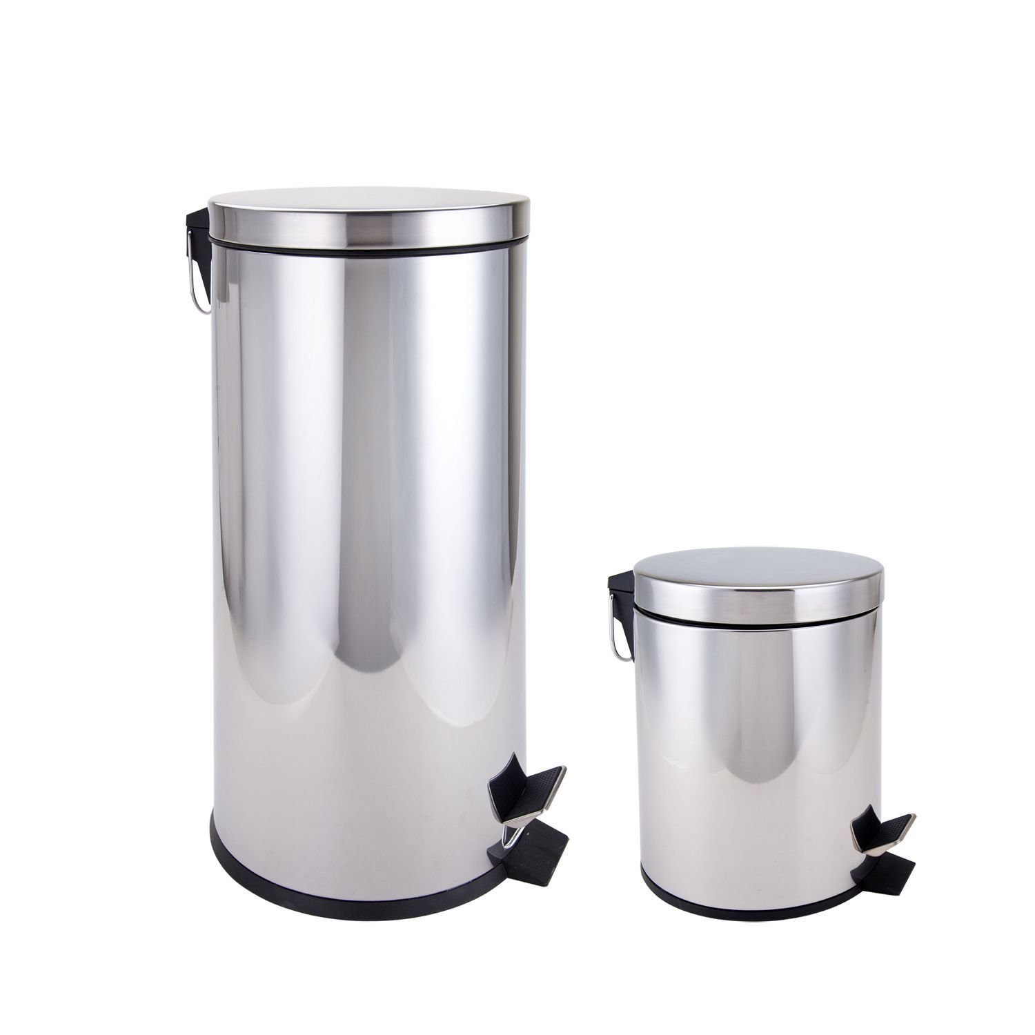 Stainless Steel Kitchen And Bathroom Trash Cans 2 Piece Set