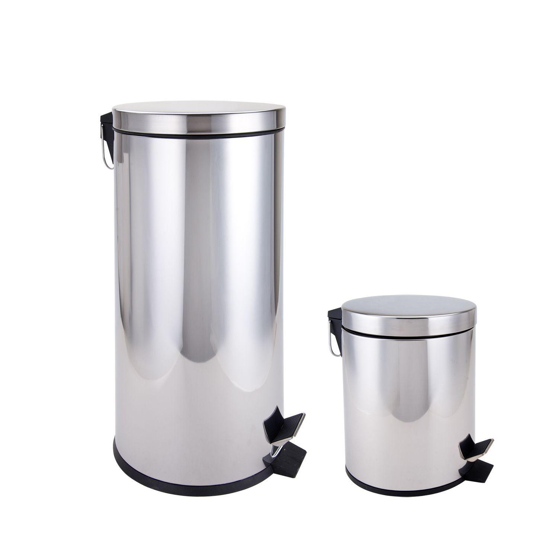 Salle De Bain Larousse Pluriel ~ Stainless Steel Kitchen And Bathroom Trash Cans 2 Piece Set