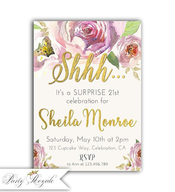 21st Birthday Invitations For Girls Surprise Party
