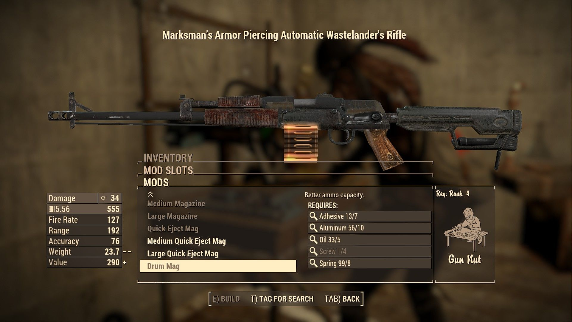 fallout 76 handmade plan wastelander s rifle extended weapon mods extended 6125