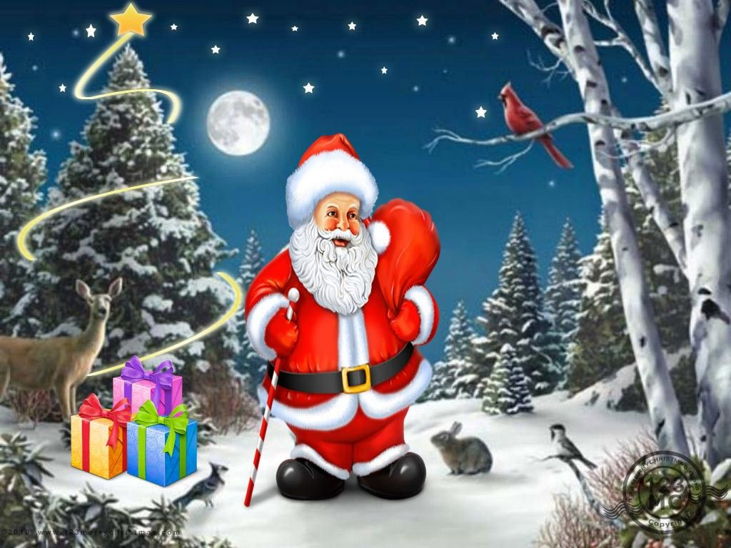 Christmas Tree With Santa Merry Christmas Wishes Quotes