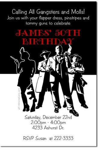 Mafia Themed Birthday Party Invitations