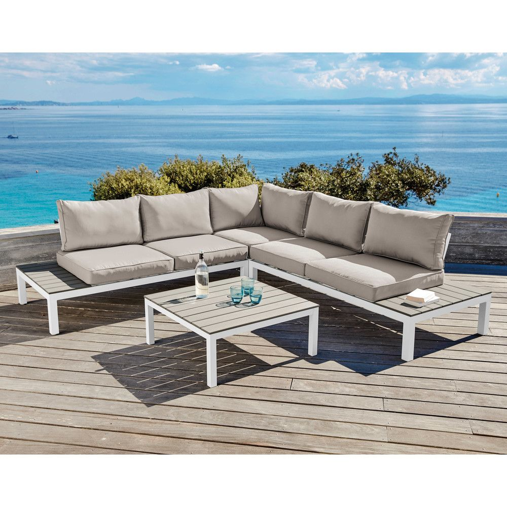 Salon de jardin 6 places en composite aluminium blanc et coussins ...