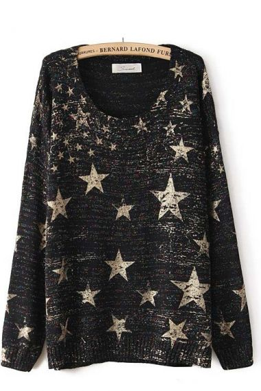 Star print colorful thread knit sweater
