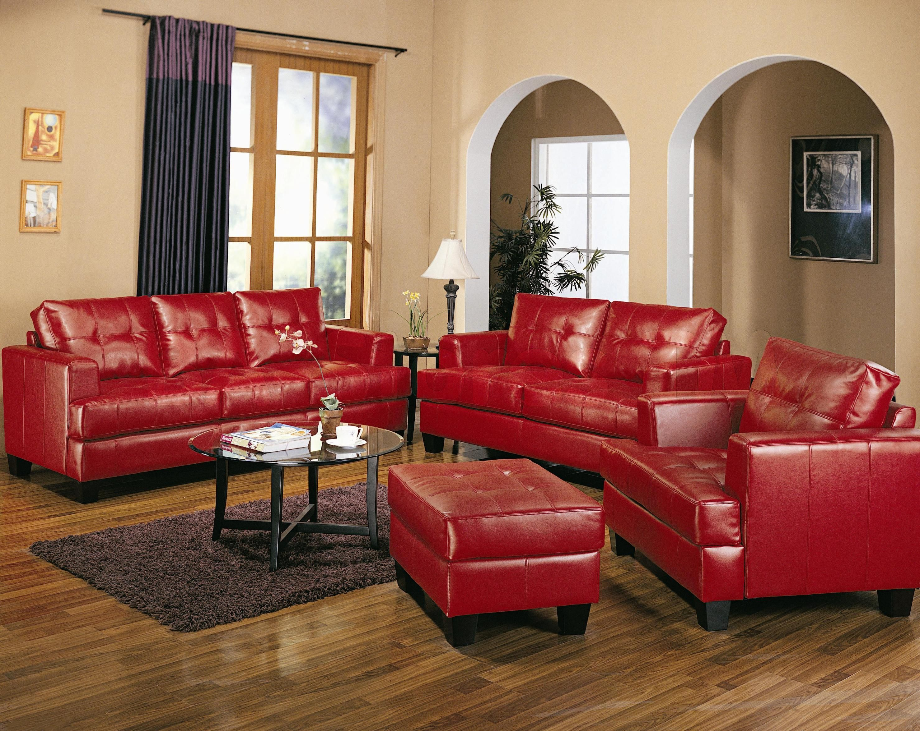 3 Pcs W Ottoman Samuel Red Leather Sofa By Coaster