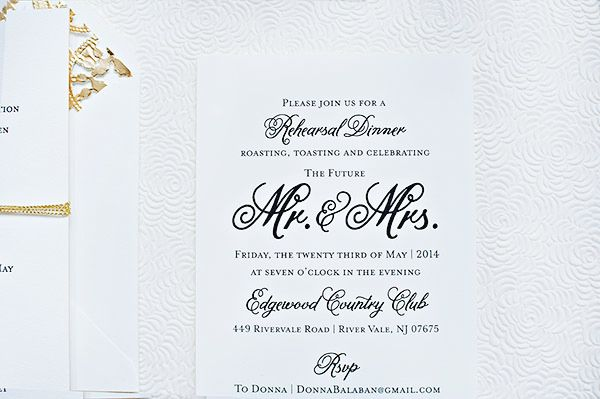Oh So Beautiful Paper: Ashley + Eric's Classic Black and White Wedding Invitations | Rehearsal Dinner Invite Wording