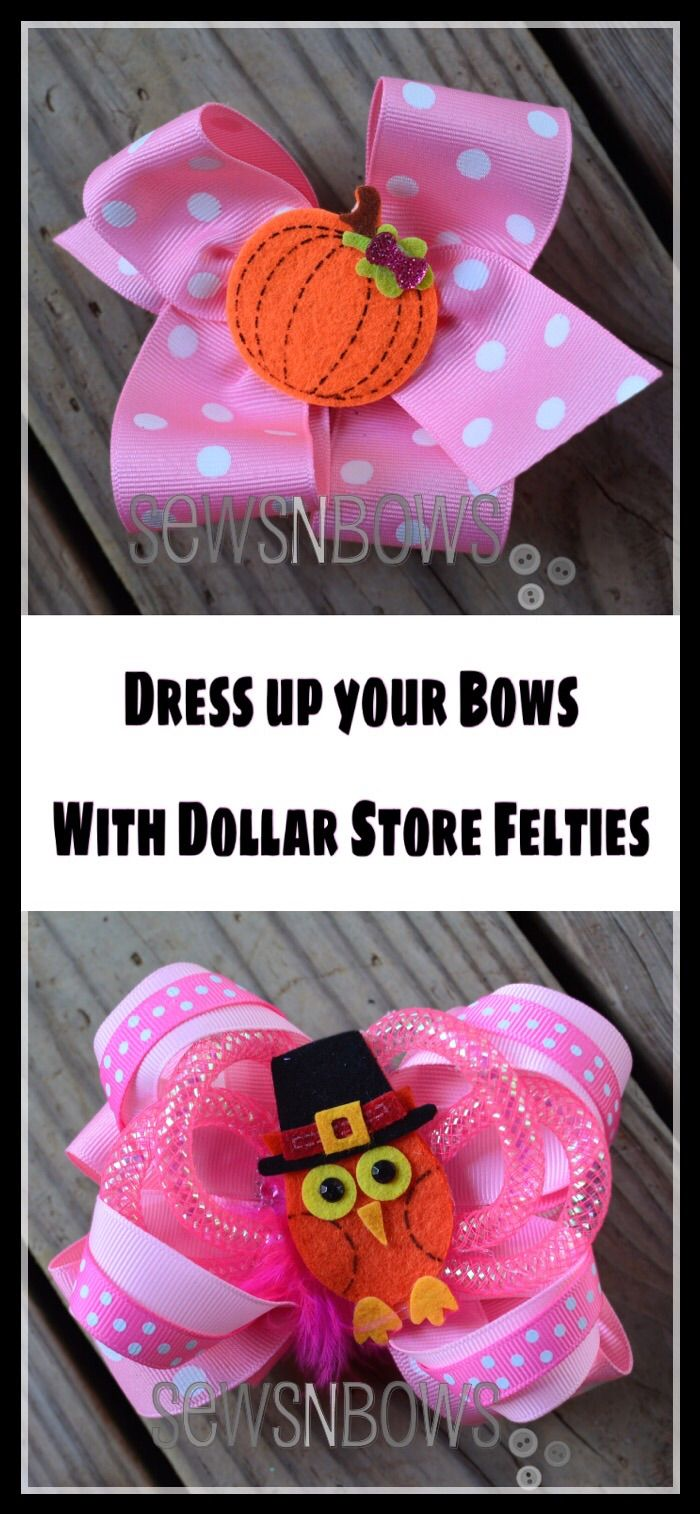 Dollar store felties ud easy bow toppers