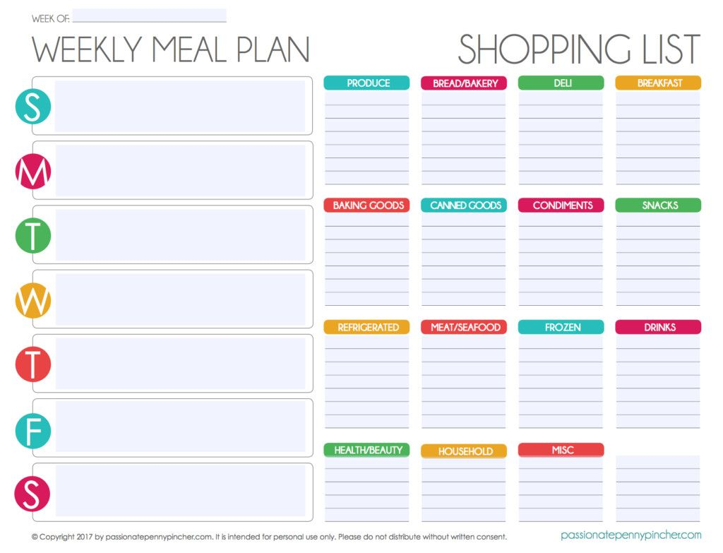 Free Meal Planner Template Top Free Editable Menu Plan And Grocery