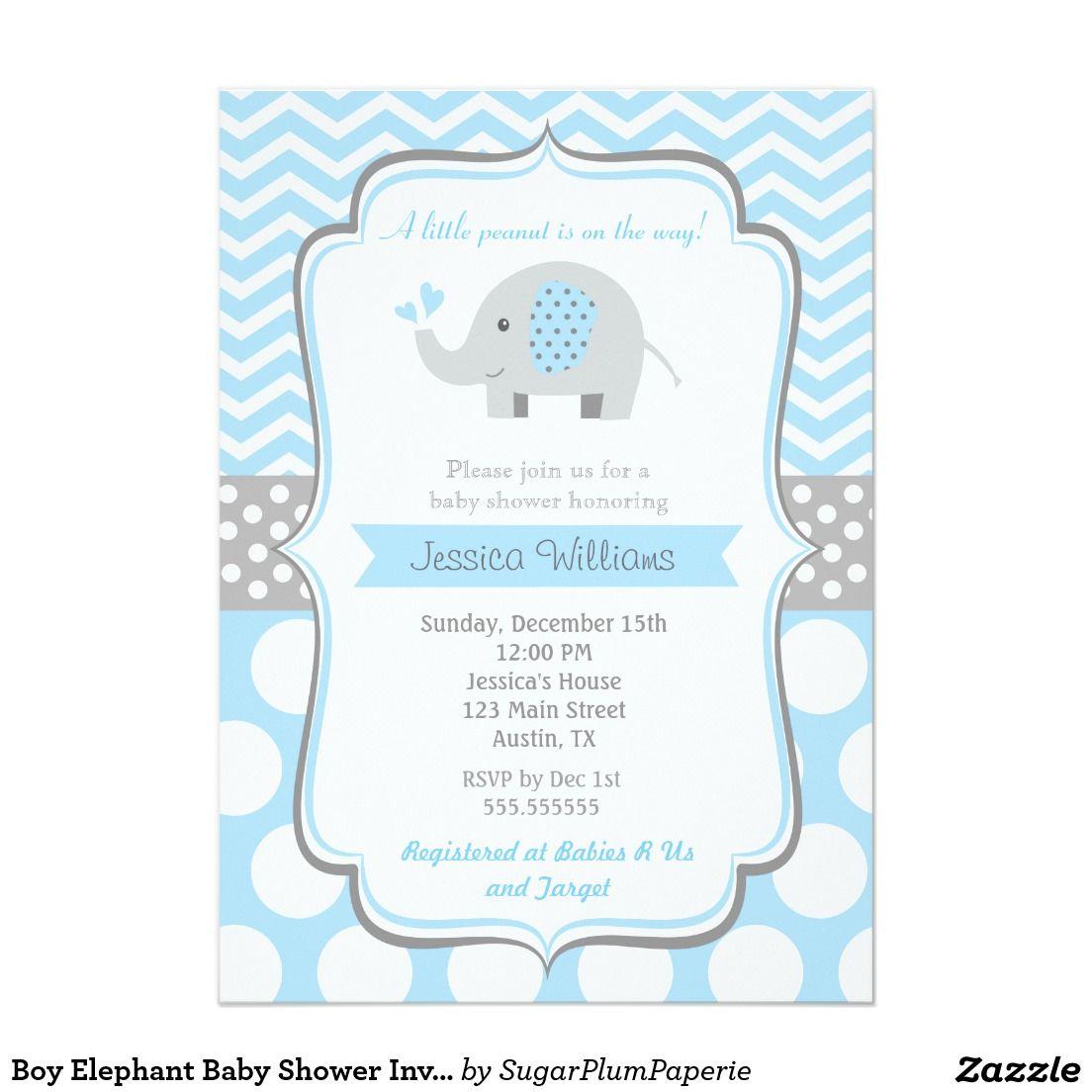 Boy Elephant Baby Shower Invitations Zazzle Com Baby Shower