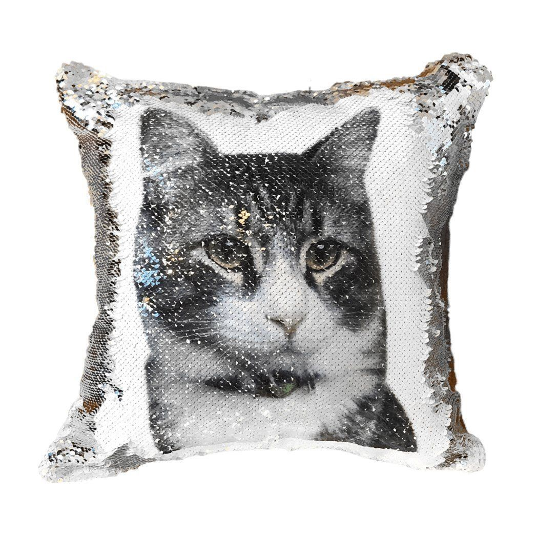 Put Your Cat's Photo on A Reversible Sequins Cushion Cover