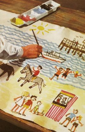 Peter paints picture of the beach - Peter And Jane, Fun And Games