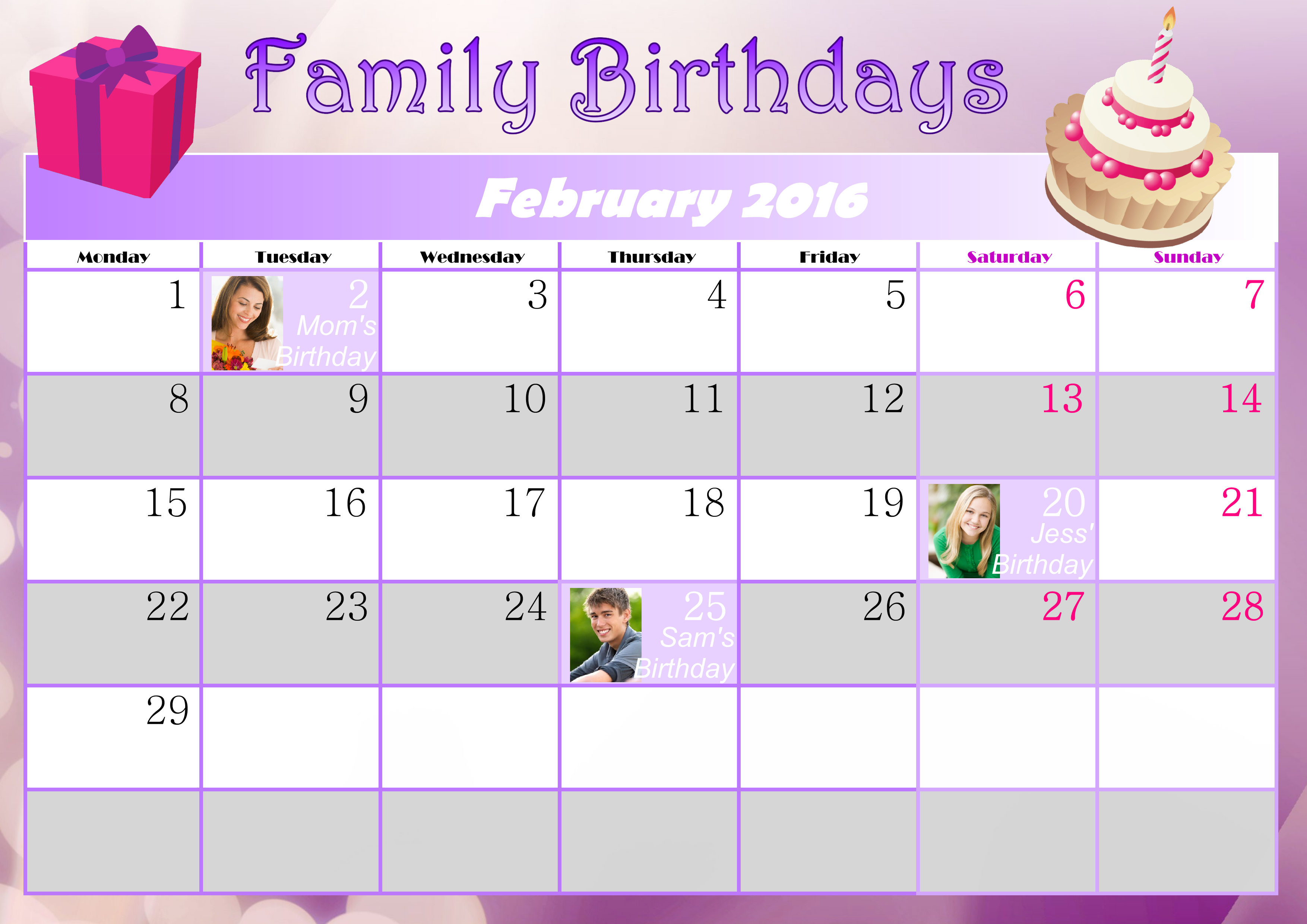 how do you like this birthday planner for february 2016 download