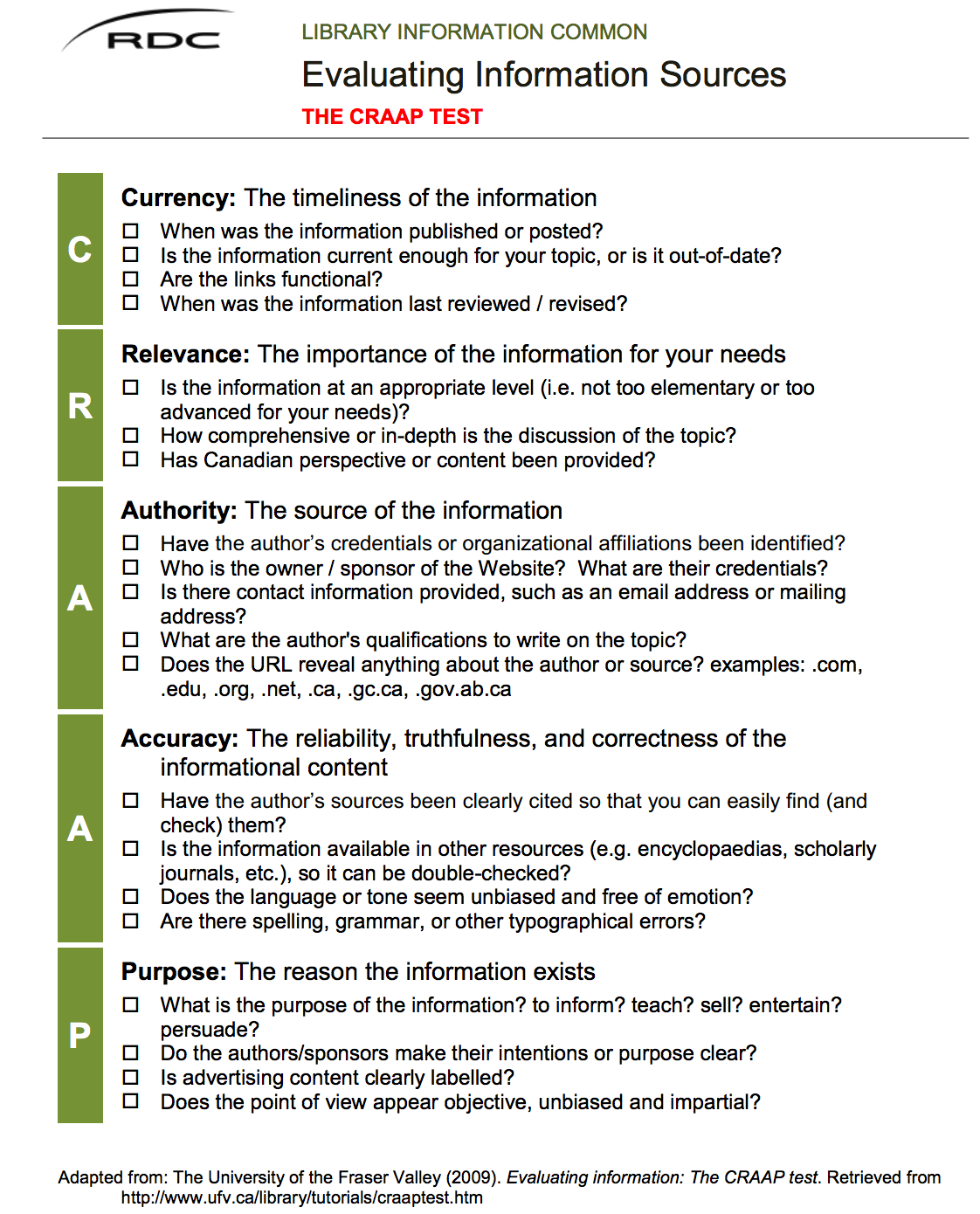 Excellent Checklist For Evaluating Information Sources Research Skills Information Literacy Educational Technology