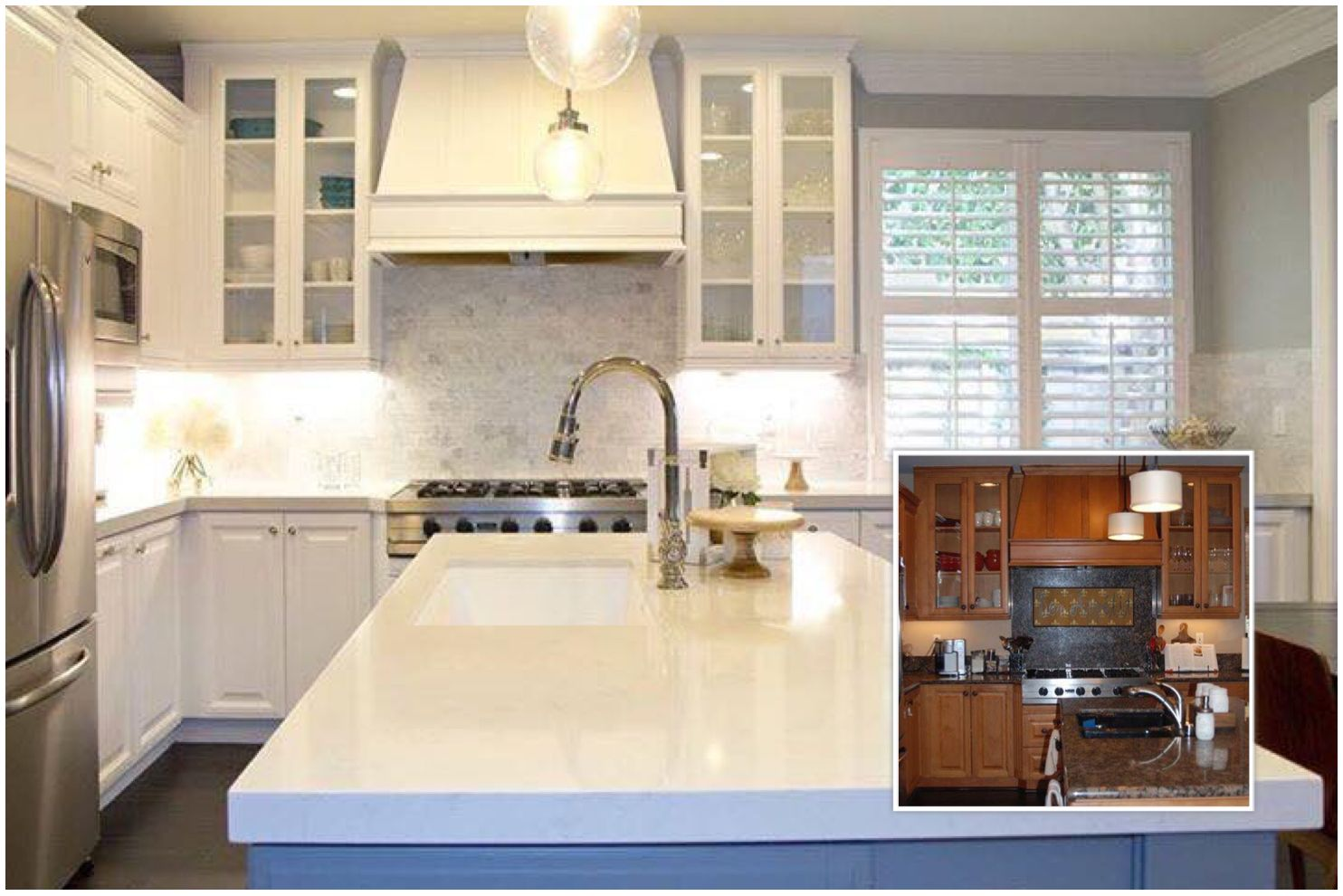 Kitchen before u after painted honey cabinets white u island sw