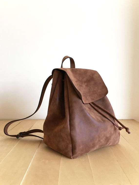 6500000c8093 Faux Leather Brown Backpack - Vegan Backpack - Water Resistant ...