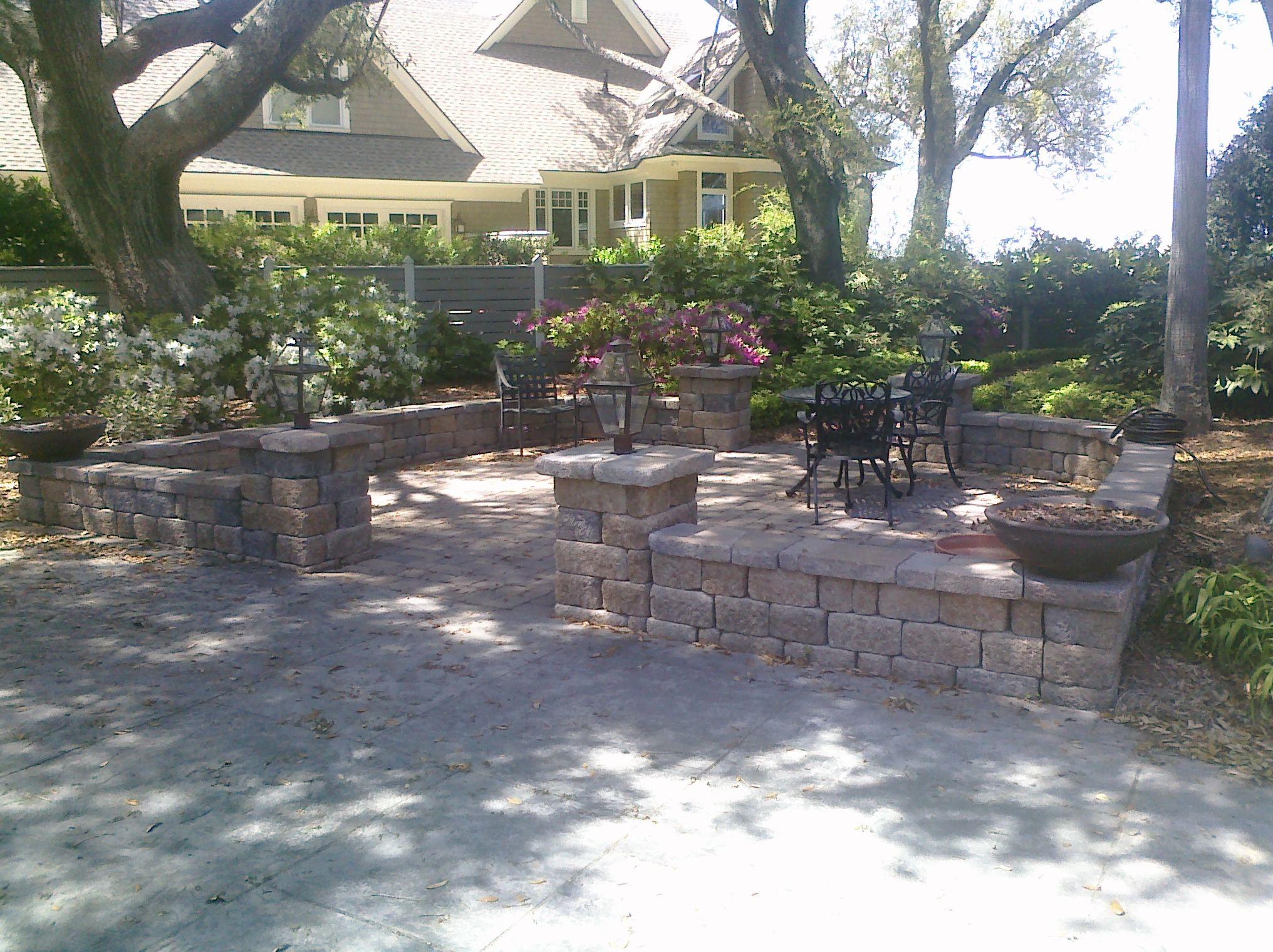garden wall ideas dublin. tumbled 3 pc dublin cobble concrete paver patio with wall block and cap seating bench. garden bedspatio ideasdecor ideas n