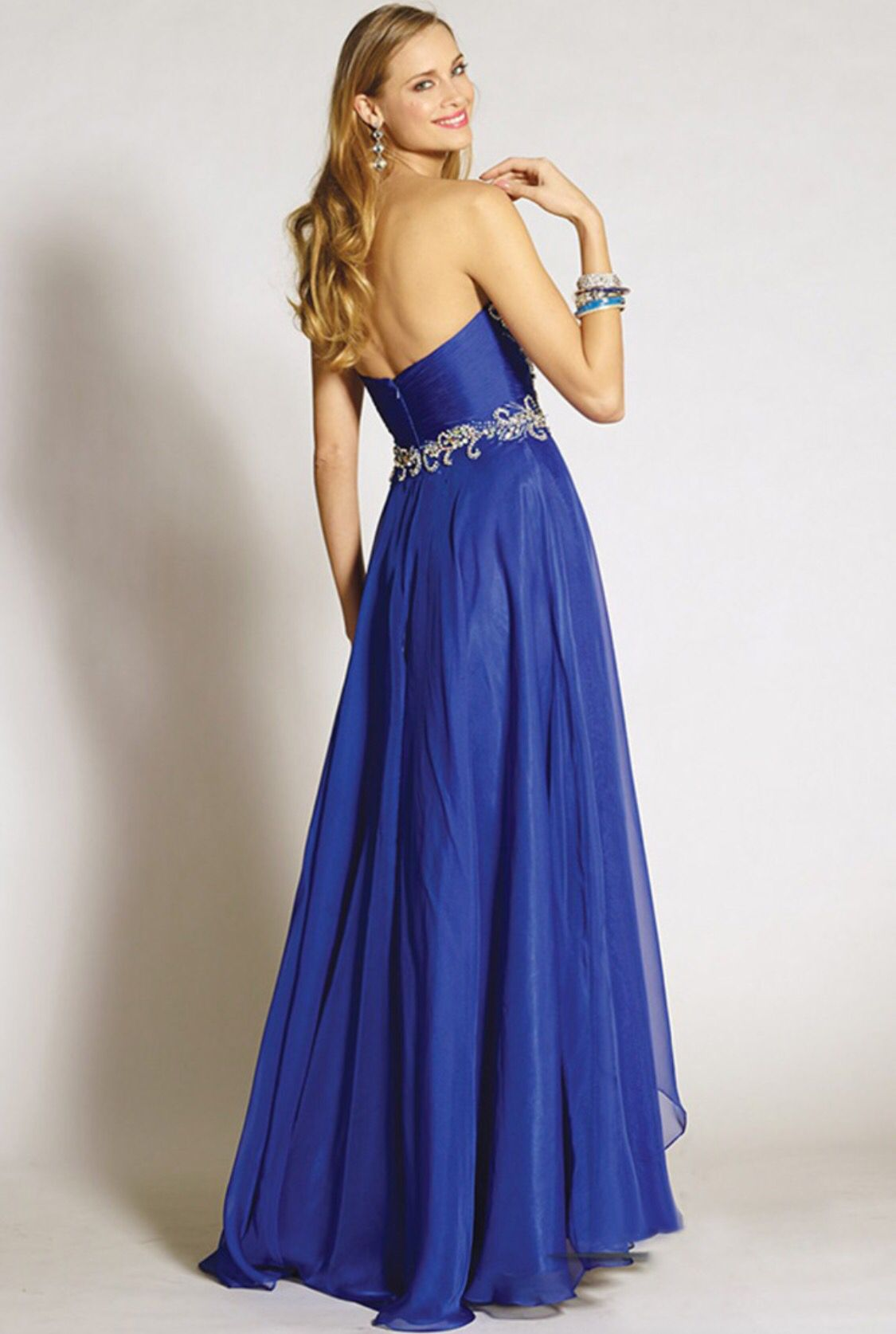 The back of our Royal Blue long flowy evening gown size 4/6 ...